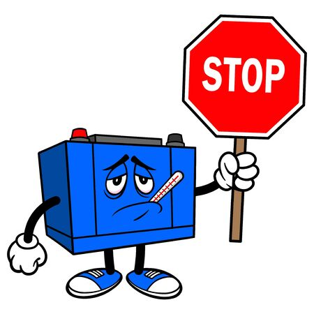 Car Battery Sick with a Stop Sign - A cartoon illustration of a Car Battery Mascot.