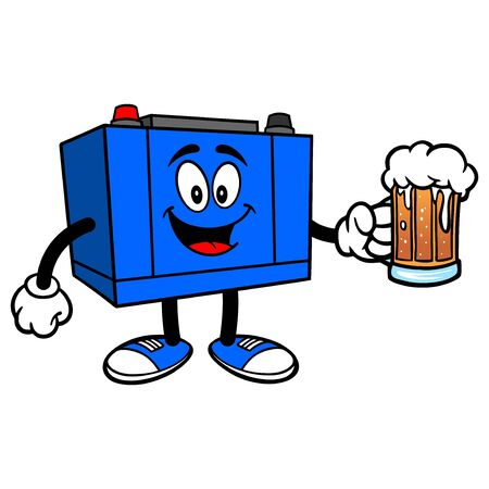 Car Battery with a Mug of Beer - A cartoon illustration of a Car Battery Mascot.