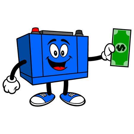 Car Battery with a Dollar - A cartoon illustration of a Car Battery Mascot. Çizim