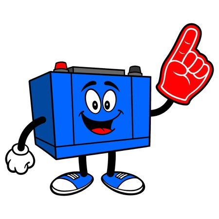 Car Battery with Foam Hand - A cartoon illustration of a Car Battery Mascot.