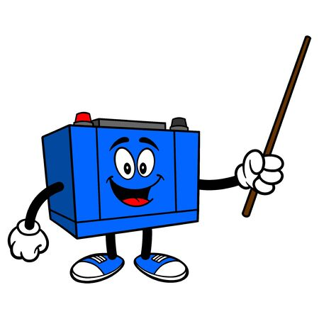 Car Battery with a Pointer - A cartoon illustration of a Car Battery Mascot.