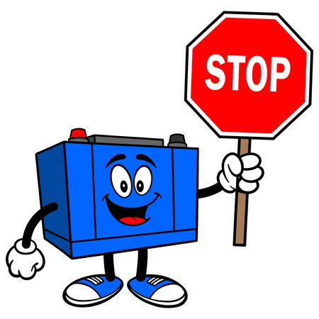 Car Battery with a Stop Sign - A cartoon illustration of a Car Battery Mascot.