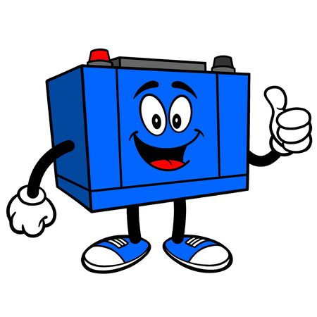 Car Battery with Thumbs Up - A cartoon illustration of a Car Battery Mascot. Çizim