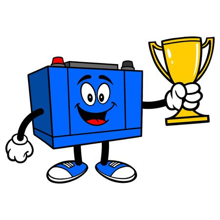 Car Battery with a Trophy - A cartoon illustration of a Car Battery Mascot.