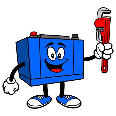 Car Battery with a Wrench - A cartoon illustration of a Car Battery Mascot.