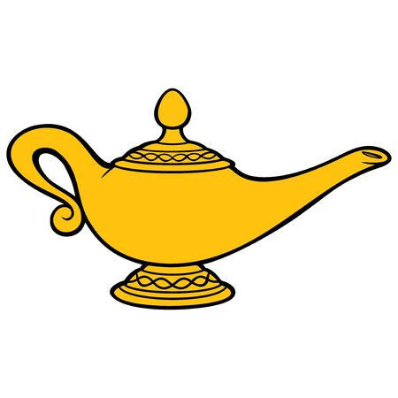 Genie Lamp - A cartoon illustration of a Genie Lamp. Illustration