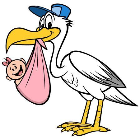 Ooievaar met een babymeisje - Een cartoonillustratie van een ooievaar met een babymeisje.