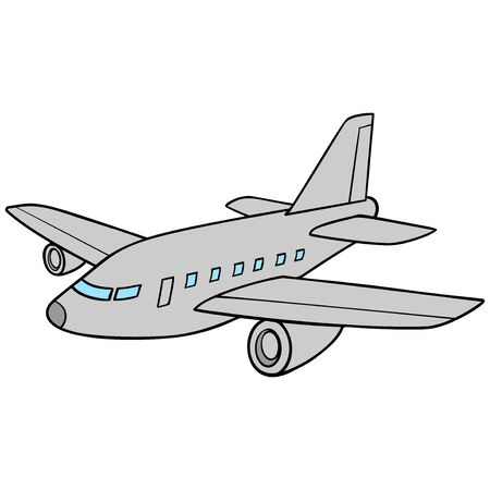 Jet Airplane  - A cartoon illustration of a jet airplane.