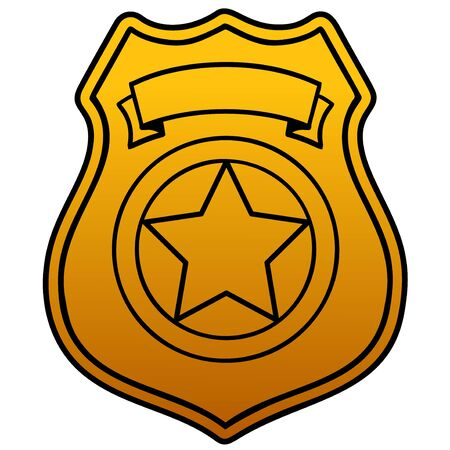 Police Badge Blank  - A cartoon illustration of a Police Badge blank.