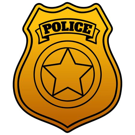 Police Badge  - A cartoon illustration of a Police Badge.