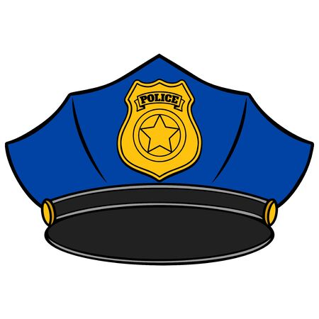 Police Hat  - A cartoon illustration of a Police Hat.