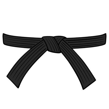 Schwarzer Gürtel - Eine Karikaturillustration eines Karate-Schwarzgürtels.