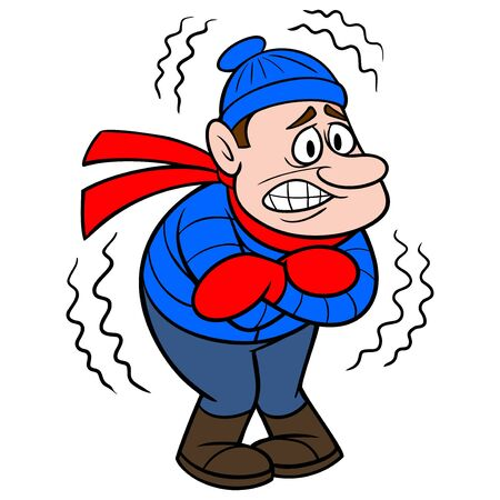 Freezing Cold - A cartoon illustration of a cold freezing man.