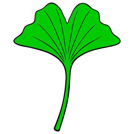 Ginkgo Tree Leaf - A cartoon illustration of a Ginkgo Tree Leaf. Illusztráció