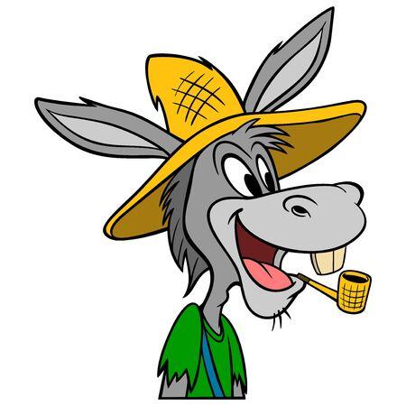 Hillbilly Mule - A cartoon illustration of a Hillbilly Mule mascot. Illustration