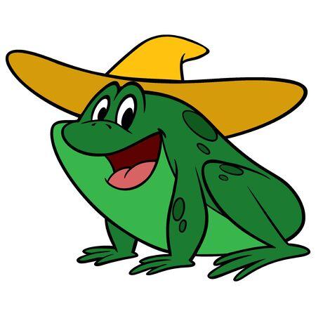 Hillbilly Frog - A cartoon illustration of a hillbilly frog with a straw hat. Illusztráció