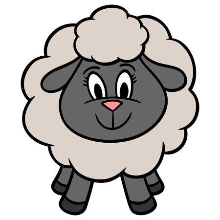 Cute Sheep - A cartoon illustration of a cute Sheep.