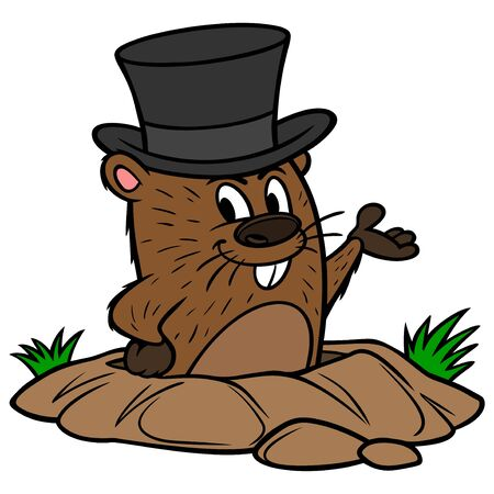 Groundhog with a Hat - A cartoon illustration of a cute Groundhog with a Hat.