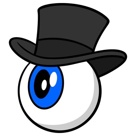 Eyeball with Hat - A cartoon illustration of a Eyeball with a Hat.
