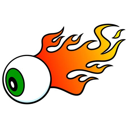 Eyeball On Fire - A cartoon illustration of a Eyeball with flames coming off of it.
