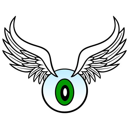 Eyeball with Wings - A cartoon illustration of a Eyeball with flapping Wings.