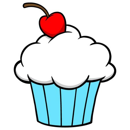 Cupcake - A cartoon illustration of a Cupcake with a Cherry on top.