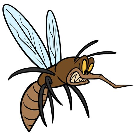 Mosquito - A cartoon illustration of an angry Mosquito.