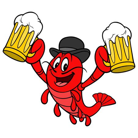 Crawfish Daddy - A cartoon illustration of a Crawfish with a couple of mugs of Beer.