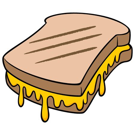 Grilled Cheese - A cartoon illustration of a Grilled Cheese sandwich.
