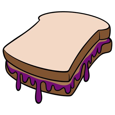 Peanut Butter and Jelly - A cartoon illustration of a Peanut Butter and Jelly sandwich. Çizim