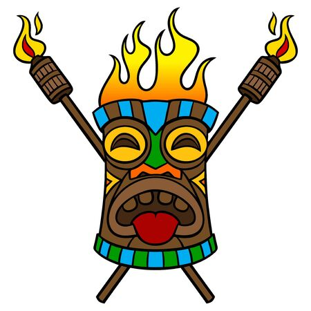 Tiki with Torches - A cartoon illustration of a Polynesian Tiki with Torches.