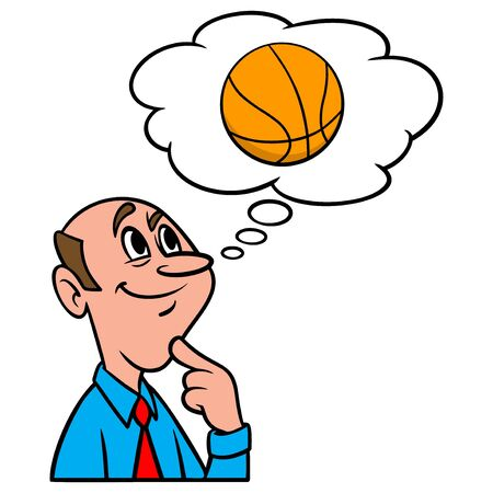 Thinking about Basketball - A cartoon illustration of a man thinking about playing Basketball.