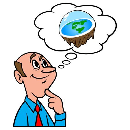 Thinking about Flat Earth Theory - A cartoon illustration of a man thinking about Flat Earth Theory.