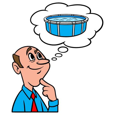 Thinking about Above Ground Pools - A cartoon illustration of a man thinking about buying an Above Ground Pool.