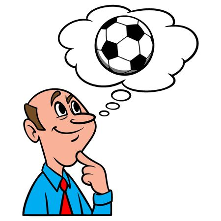 Thinking about Soccer - A cartoon illustration of a man thinking about Soccer.