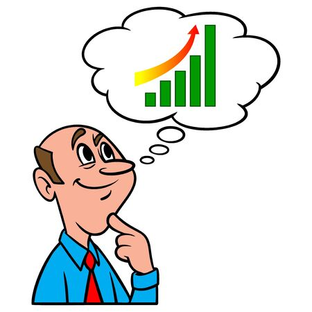 Thinking about Stock Market Gains - A cartoon illustration of a man thinking about Stock Market Gains.