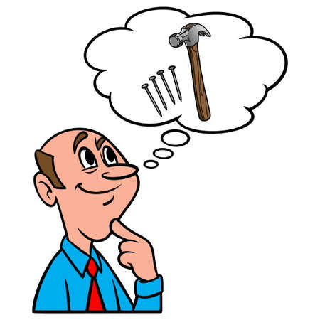 Thinking about a Construction Project - A cartoon illustration of a man thinking about a new Construction Project. Иллюстрация