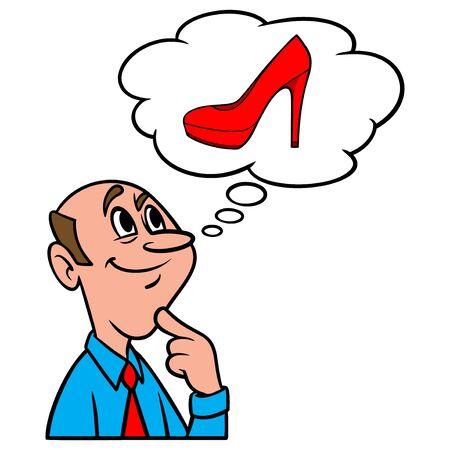 Thinking about High Heels - A cartoon illustration of a man thinking about ladies High Heels. Иллюстрация
