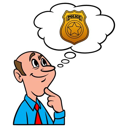 Thinking about Law Enforcement - A cartoon illustration of a man thinking about a career in Law Enforcement.