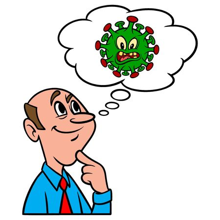 Thinking about Covid-19 Virus - A cartoon illustration of a man thinking about Covid-19 Virus.