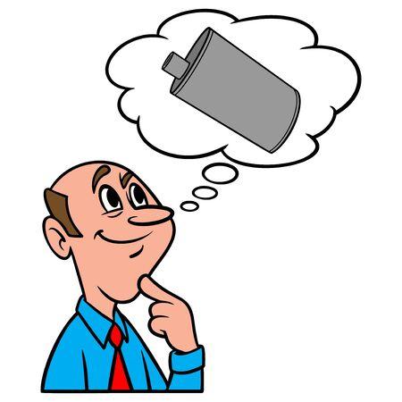 Thinking about a Muffler - A cartoon illustration of a man thinking about a Muffler.
