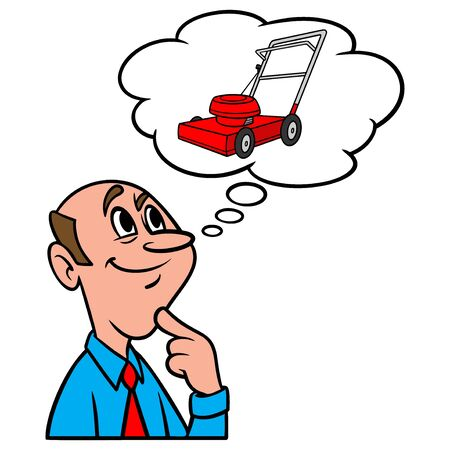 Thinking about a Lawn Mower - A cartoon illustration of a man thinking about a new Lawn Mower.