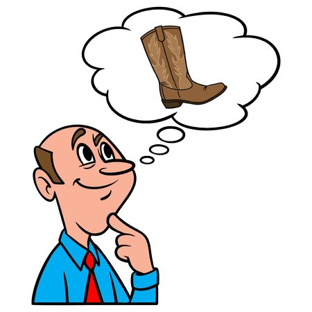 Thinking about Cowboy Boots - A cartoon illustration of a man thinking about Cowboy Boots. Иллюстрация