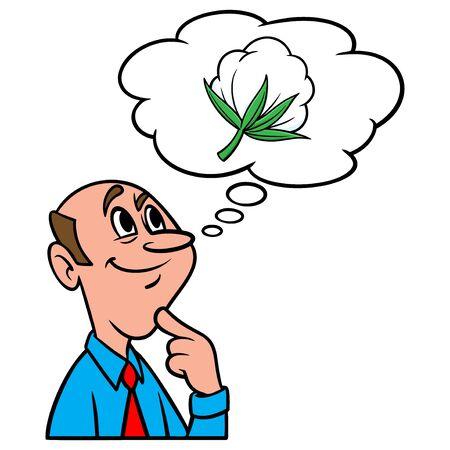 Thinking about Cotton - A cartoon illustration of a man thinking about Cotton. Иллюстрация