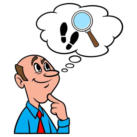 Thinking about an Investigation - A cartoon illustration of a man thinking about an Investigation.