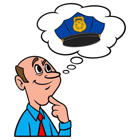 Thinking about a Police Hat - A cartoon illustration of a man thinking about wearing a Police Hat.