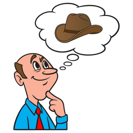 Thinking about  a Cowboy Hat - A cartoon illustration of a man thinking about a Cowboy Hat.