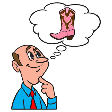 Thinking about a Cowgirl Boot - A cartoon illustration of a man thinking about a Cowgirl Boot.