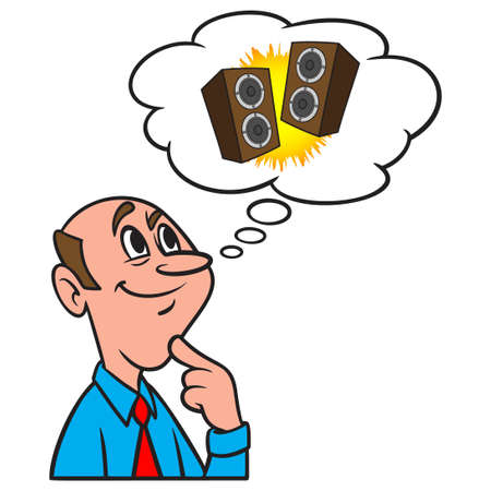 Thinking about Stereo Speakers - A cartoon illustration of a man thinking about a pair of Stereo Speakers.