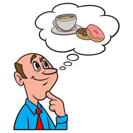 Thinking about Donuts and Coffee - A cartoon illustration of a man thinking about a cup of Coffee and Donuts.